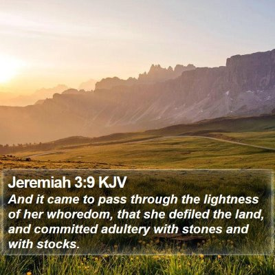 Jeremiah 3:9 KJV Bible Verse Image