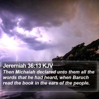 Jeremiah 36:13 KJV Bible Verse Image