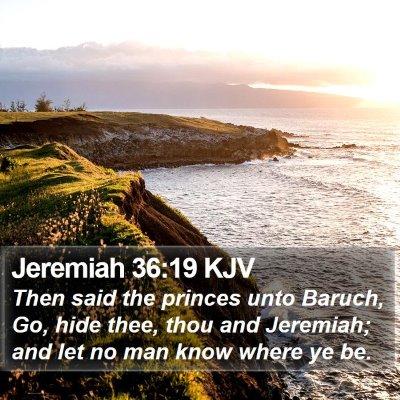 Jeremiah 36:19 KJV Bible Verse Image