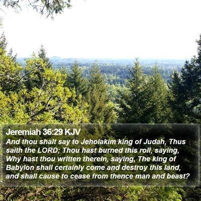 Jeremiah 36:29 KJV Bible Verse Image