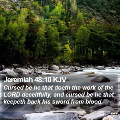 Jeremiah 48:10 KJV Bible Verse Image