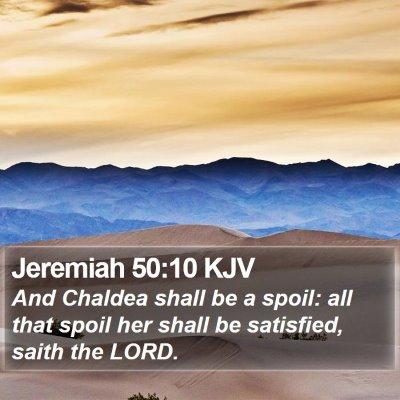 Jeremiah 50:10 KJV Bible Verse Image