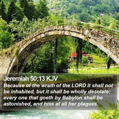 Jeremiah 50:13 KJV Bible Verse Image