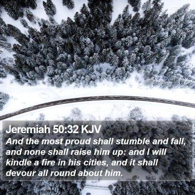 Jeremiah 50:32 KJV Bible Verse Image
