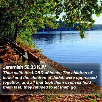 Jeremiah 50:33 KJV Bible Verse Image