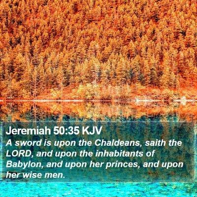 Jeremiah 50:35 KJV Bible Verse Image