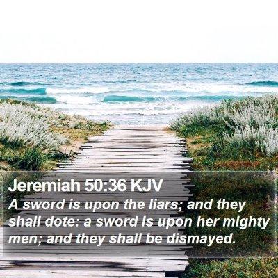 Jeremiah 50:36 KJV Bible Verse Image