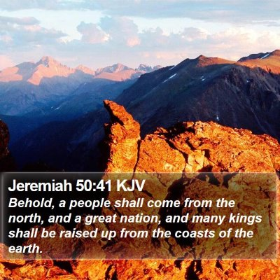 Jeremiah 50:41 KJV Bible Verse Image