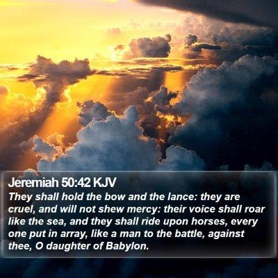 Jeremiah 50:42 KJV Bible Verse Image