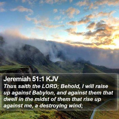 Jeremiah 51:1 KJV Bible Verse Image
