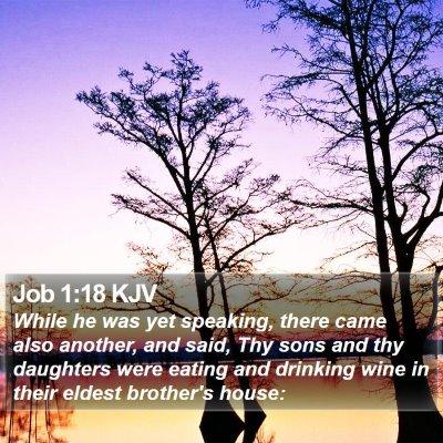 Job 1:18 KJV Bible Verse Image