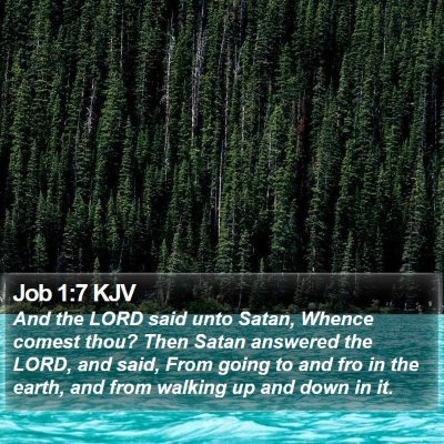 Job 1:7 KJV Bible Verse Image