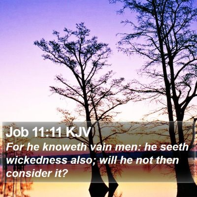 Job 11:11 KJV Bible Verse Image