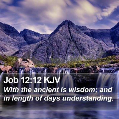 Job 12:12 KJV Bible Verse Image