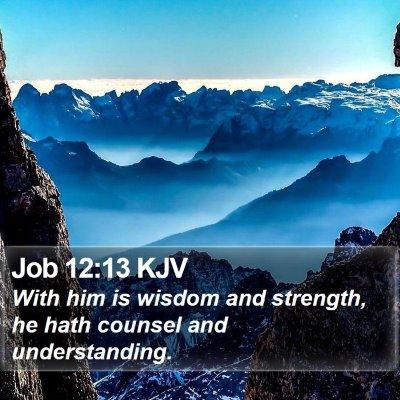 Job 12:13 KJV Bible Verse Image