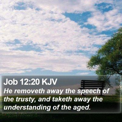 Job 12:20 KJV Bible Verse Image