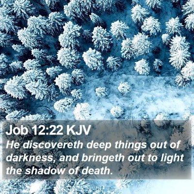Job 12:22 KJV Bible Verse Image