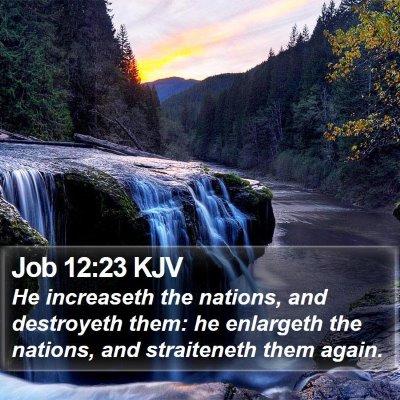 Job 12:23 KJV Bible Verse Image