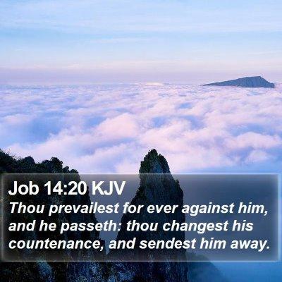 Job 14:20 KJV Bible Verse Image