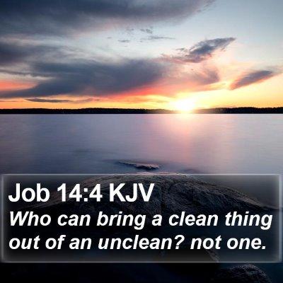 Job 14:4 KJV Bible Verse Image