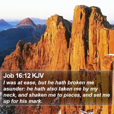 Job 16:12 KJV Bible Verse Image