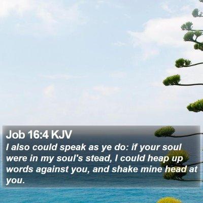 Job 16:4 KJV Bible Verse Image