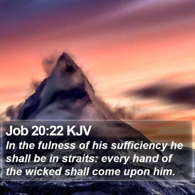 Job 20:22 KJV Bible Verse Image