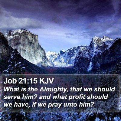 Job 21:15 KJV Bible Verse Image