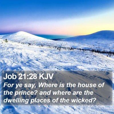Job 21:28 KJV Bible Verse Image