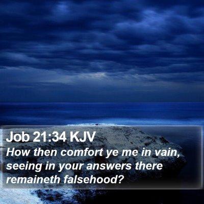 Job 21:34 KJV Bible Verse Image