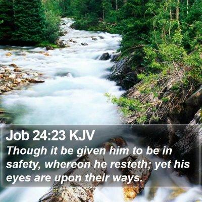 Job 24:23 KJV Bible Verse Image
