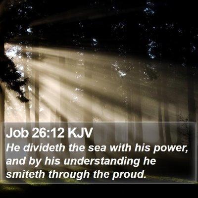 Job 26:12 KJV Bible Verse Image