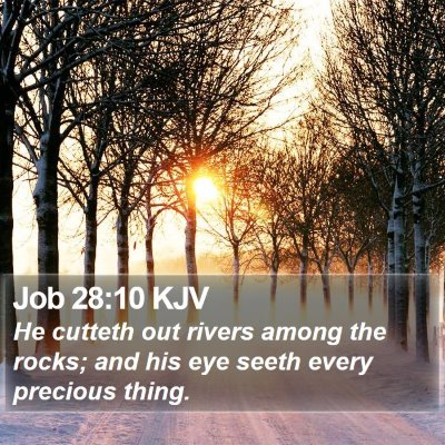 Job 28:10 KJV Bible Verse Image