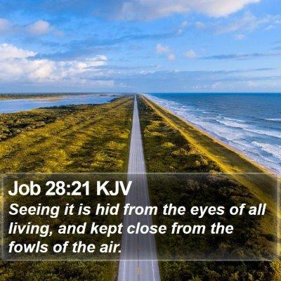 Job 28:21 KJV Bible Verse Image