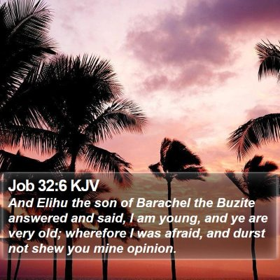 Job 32:6 KJV Bible Verse Image