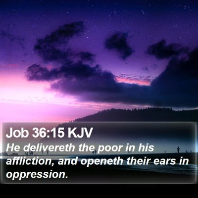 Job 36:15 KJV Bible Verse Image