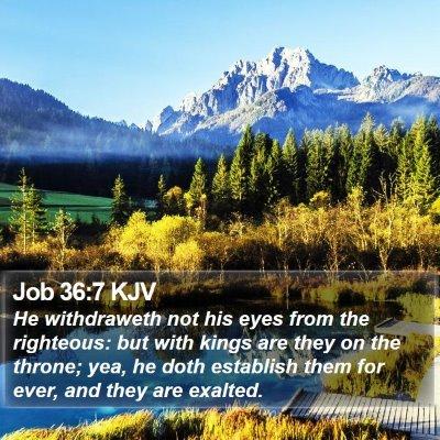 Job 36:7 KJV Bible Verse Image