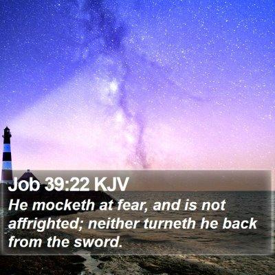 Job 39:22 KJV Bible Verse Image