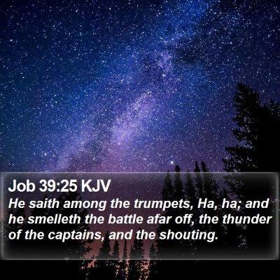 Job 39:25 KJV Bible Verse Image