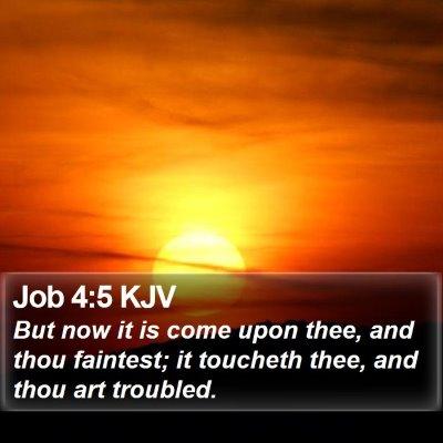 Job 4:5 KJV Bible Verse Image