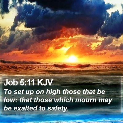 Job 5:11 KJV Bible Verse Image