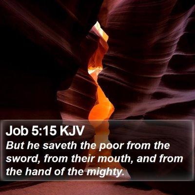 Job 5:15 KJV Bible Verse Image