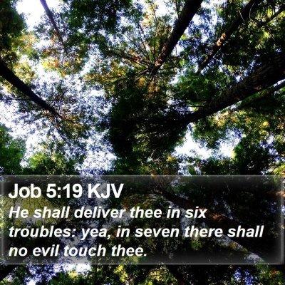 Job 5:19 KJV Bible Verse Image