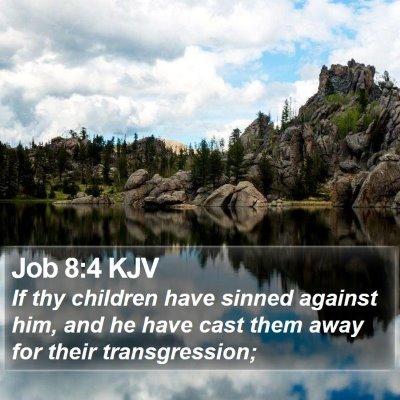 Job 8:4 KJV Bible Verse Image