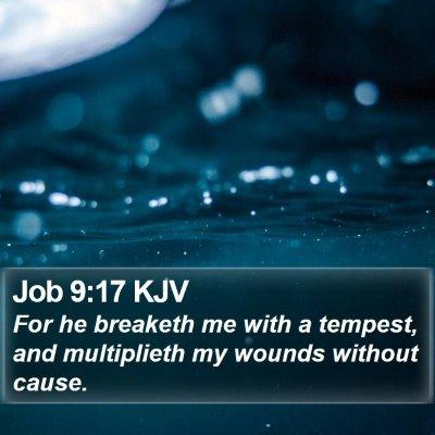 Job 9:17 KJV Bible Verse Image
