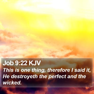 Job 9:22 KJV Bible Verse Image