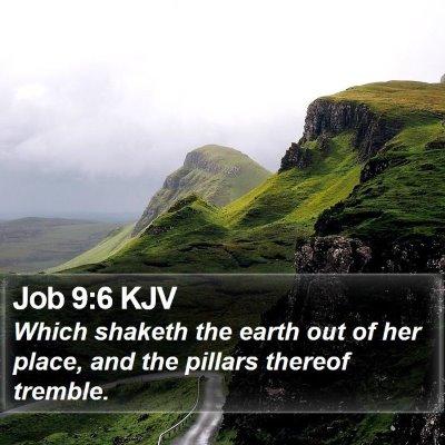 Job 9:6 KJV Bible Verse Image