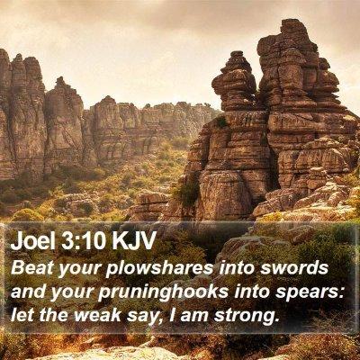 Joel 3:10 KJV Bible Verse Image