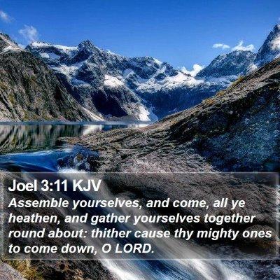 Joel 3:11 KJV Bible Verse Image