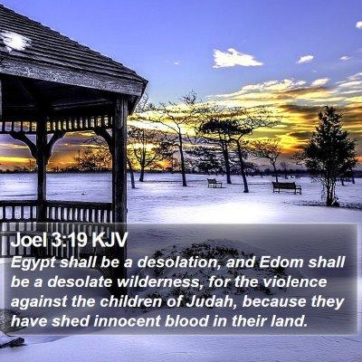 Joel 3:19 KJV Bible Verse Image